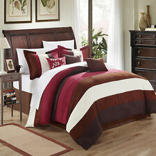 Cathy Microsuede Burgundy, Brown, Ivory 7 Piece Comforter Bed In A Bag Set