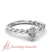 .55 Ct Pear Shaped Diamond Solitaire Twisted Band Engagement Ring 14K Gold SI2