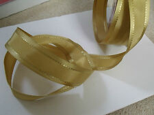 Rich Smooth Gold Satin with stitch detail - Luxury Wire Edged Ribbon REDUCED!!