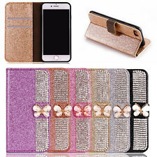 FASHION 3D BUTTERFLY BLING STRASS WALLET FLIP PU LEATHER CASE COVER FOR IPHONE
