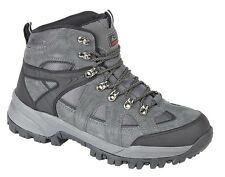 Mens New Charcoal Suede Hiking Waterproof Walking Boots Shoes UK 4 - 14