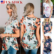 Women's Short Sleeve Floral Print T-Shirt Casual Tunic Loose Summer Tops Blouse