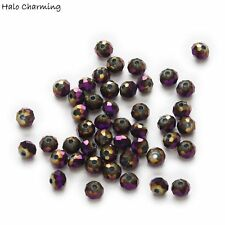 50 Piece Plating Purple Crystal Glass Faceted Beads DIY Jewelry Findings 4-8mm