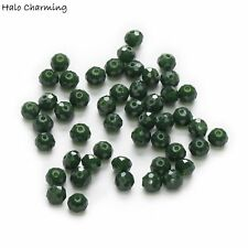 50 Piece Dark Green Crystal Glass Faceted Beads Spacer Jewelry Findings 4-8mm