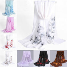 New Women Girls Floral Chiffon Soft Neck Scarf Shawl Scarves Long Stole Wraps H