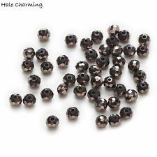 50 Piece Plating Gunblack AB Crystal Glass Faceted Beads Jewelry Findings 4-8mm