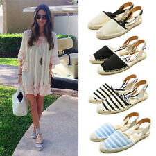 Womens Espadrilles Lace Up Striped Flats Shoes Pointed Toe Loafers Pumps Shoes
