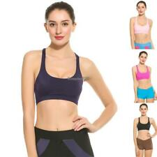 Women Padded Strappy Crisscross Hollow Out Back Sports Bra Top ED