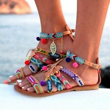 Womens Bohemia Gladiator Sandals Ethnic Ankle Strap Lace Up Flat  Beach Shoes