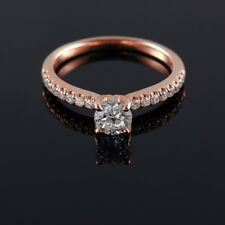 Round Diamond 0.57-0.93CT E VS1 Fine 14/18K Rose Gold Engagement Ring Enhanced