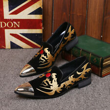 Casual Embroidery Metal Toe Flats Dress Formal Loafers Driving Moccasins Shoes