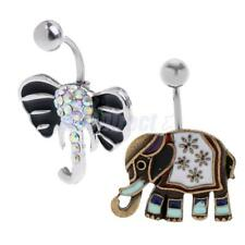 304 Stainless Steel Retro Elephant Belly Bar Navel Button Ring Crystal CZ Dangly