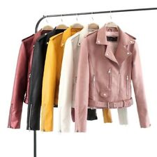 New Womens Ladies Sexy 5 Colors Faux Leather Motorcycle Biker Jacket Coat