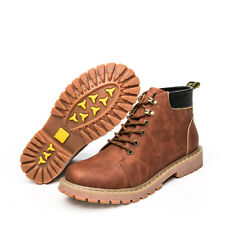 Fashion Leather Ankle Work Boots Lace Up High Top Mens Casual Round Toe Shoes Sz