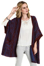 UMGEE Womens Burgundy Blue Chic Boho Bohemian Wrap Cardigan Sweater Knit Plus