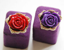 Rose Ring w Clear Crystals / Red or Purple / Gold-tone Adjustable Band / NEW