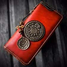 Handmade Men Genuine Leather Clutch Wallet Long Purse Card Case Fashion Handbag