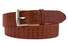 Men's Real Leather Crocodile Alligator Belly Cognac Belt Cowboy Western Rodeo