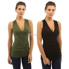 Women Casual Sexy Wrap Split Deep V Neck Sleeveless Side Ruched Tank Tops SH