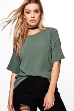 Boohoo Womens Plus Charis Ribbed Oversize Knitted Tee