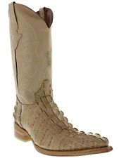 mens sand beige alligator crocodile tail leather western cowboy boots riding