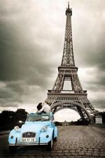 New Kissing in the Shadow of the Eiffel Tower Paris Photography Poster