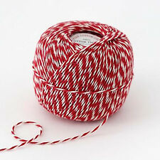 Bakers Twine, Bulky Red and White Twine 10 Ply, 300 yards, DIY Favor Twine