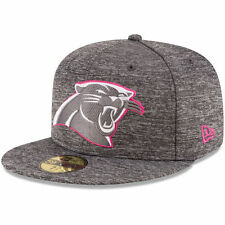 CAROLINA PANTHERS NFL BREAST CANCER BCA NEW ERA 5950 FITTED GRAY/PINK HAT NWT