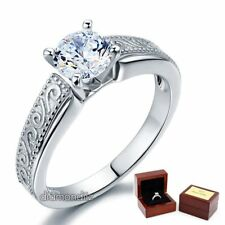 Vintage Style Sterling Silver Wedding Engagement Ring 1 Ct Lab Created Diamond