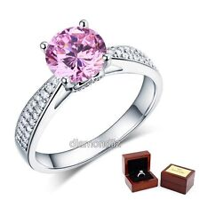 925 Sterling Silver Engagement Ring 2 Carat Fancy Pink Lab Created Diamond