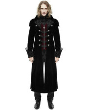 Devil Fashion Mens Coat Long Jacket Black Red Velvet Gothic Steampunk Aristocrat