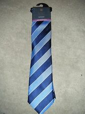M&S LUXURY COLLECTION SILK TIE BLUE STRIPE RRP £ 22.50