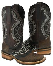 men's rustic dark brown overlay lizard leather cowboy western boots brown rodeo