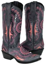 Womens Blue Leather Embroidered Coral Pink Inlay Cowboy Boots Western Snip Toe