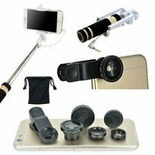 3 in1 Fish Eye Wide Angle Macro Telephoto Lens Selfie Monopoid Stick For iPhone