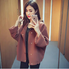 Outwear Womens Fashion Casual Batwing Loose Fit Long Sleeve Coat New Hot Button