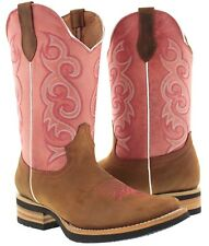 women's brown pink western leather cowboy boots rodeo cowgirl ladies square toe