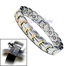 ACCENTS KINGDOM MENS TWO TONE MAGNETIC POWER TITANIUM GOLF BRACELET T14