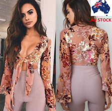 AU Women Floral Lace Up Tie Wrap Chest Flared Long Sleeve Beach Crop Top Blouse