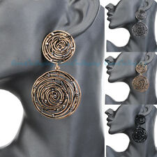 Fashion Jewelry Vintage Gold Silver Round Circle Dangle Stud Chanderlier Earring
