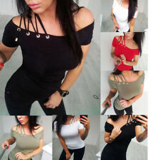 Womens Lady Summer Bandage Slim Off Shoulder Tops Lace up Strappy T-Shirt Blouse