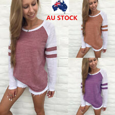 AU Womens Patchwork Tops Loose Long Sleeve T-Shirt Casual Blouse Summer Shirts