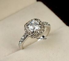 18K White Gold GP Austrian Crystal Fashion Jewelry Engagement Ring BR955