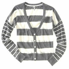 AEROPOSTALE ~ NEW NWT ~ Sz Large~ Grey Mix Stripe V Neck Cardie Cardigan Sweater