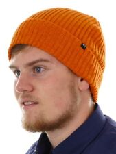 O'Neill Beanie Knitted Winter Hat Orange Everyday Patch Ribbed Knit
