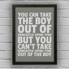 NEWCASTLE-UPON-TYNE - BOY/GIRL FRAMED WORD TEXT ART PICTURE POSTER