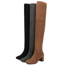New Fashion Over Knee Boots for Women Hot Suede Leather Shoes Chunky Heel Boots
