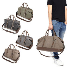 Vintage Mens Genuine Leather Canvas Duffle Weekend Bag Luggage Gym Sports Tote