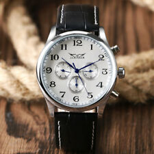 JARAGAR Black/White Day Automatic Mechanical Leather Mens Military Wrist Watch