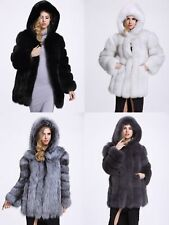 Charming Women Fashion Hooded Faux Fur Outwear Long Coat Winter Warm Coat Jacket